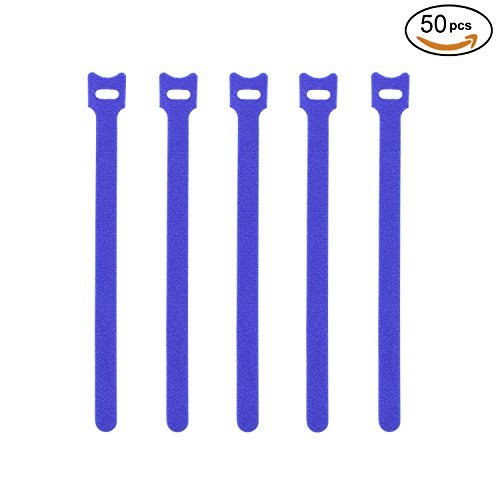 Pasow 50pcs Reusable Fastening Adjustable Cable Ties Strap Wire Management (8 Inch, Blue)