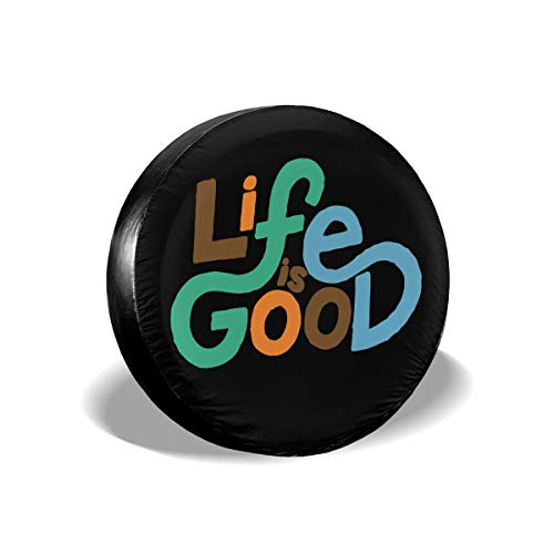 MXPINK Life is Good Spare Tire Cover, Universal Fit for Jeep,Trailer, RV, SUV, Truck and Many Vehicle, Diameter 14