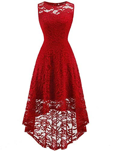 FAIRY COUPLE Women's Vintage Floral Lace Hi-Lo Sleeveless Cocktail Formal Swing Dress XS Red