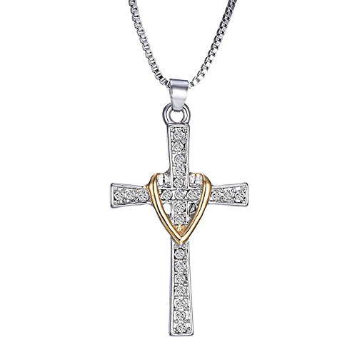 Isijie Jewelry Heart Cross Love Gold Sliver Two-Tone Pendant Necklace 18'' by Isijie Jewelry