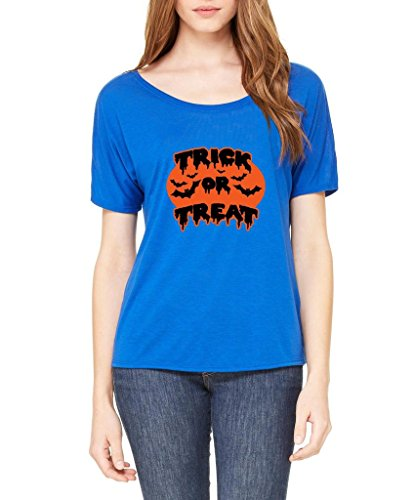 Xekia Trick or Treat ? Black Bats Halloween Fashion People Best Friends Couples Gifts Women Slouchy T-Shirt XX-Large True Royal Blue