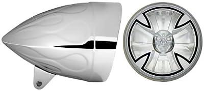 "Adjure HB54210-XSR 5-3/4"" Flamed Chrome Sunset Boulevard Style Motorcycle Headlight Bucket Combo with Diamond Cut Iron Cross Skull Headlamp (Part No: T50X00-SR)"