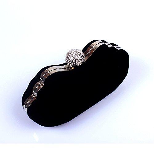 Blu Del Diamante Pranzo Flanella A Del Mano Navy Di Sposa Di Velluto Vestito Banchetto Borsa Diamante Sacchetto violetto Blu pzgq8T58