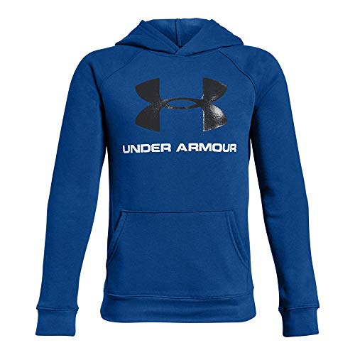 Under Armour Boys Rival Logo Hoodie, Royal (400)/Black, Youth Large
