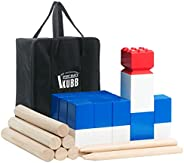 Kubb Games Set Premium Hardwood - Outdoor Tossing Games with Carrying Case and Instructions - Backyard Size