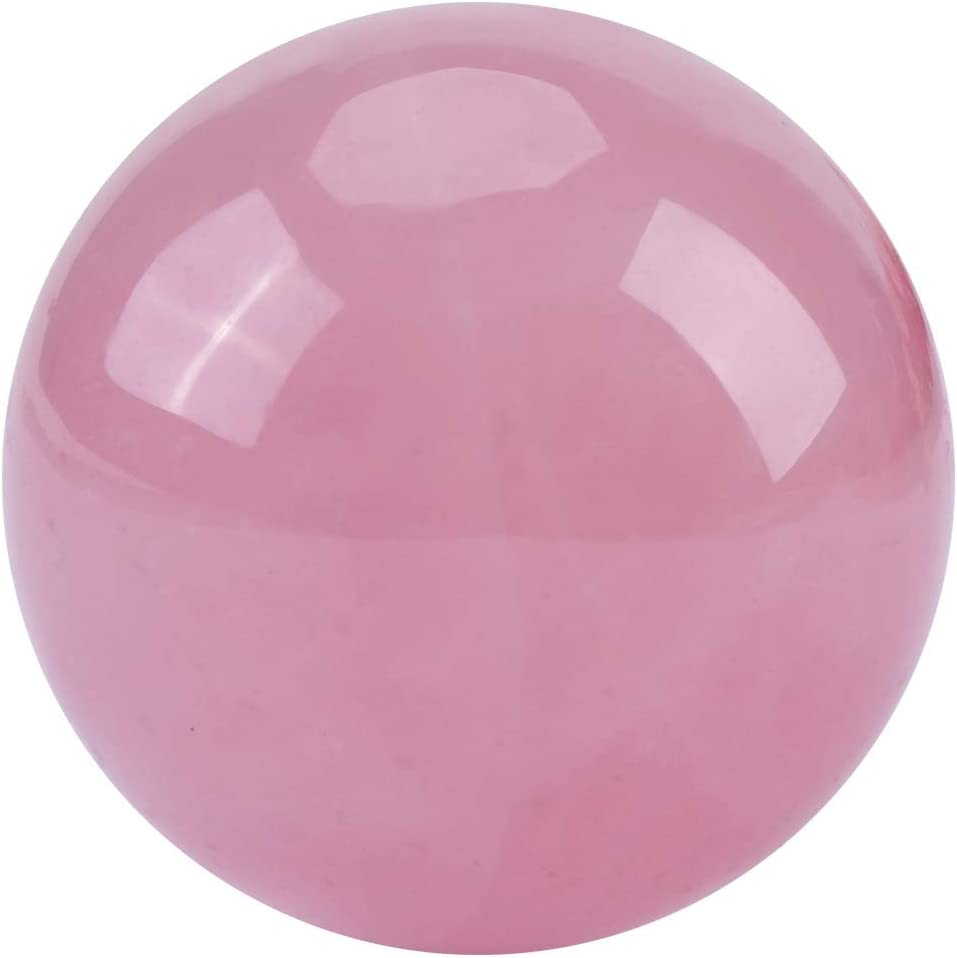 HEEPDD Piedra de Cuarzo Rosa Rosa Natural, Esfera Bola de curación de Cristal Bolsillo de Palma Bola de Cristal de curación de Piedra energética Piedras de Palma de Cuarzo Rosa Natural