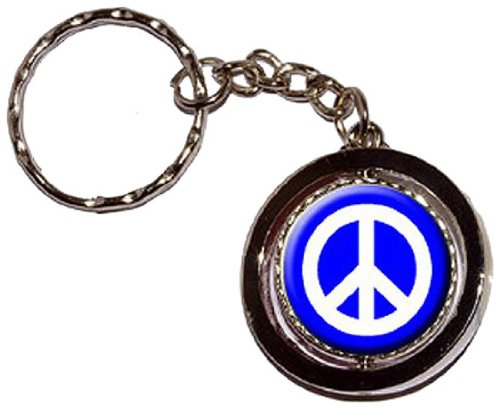 Peace Sign Symbol - Blue Round Spinning Keychain