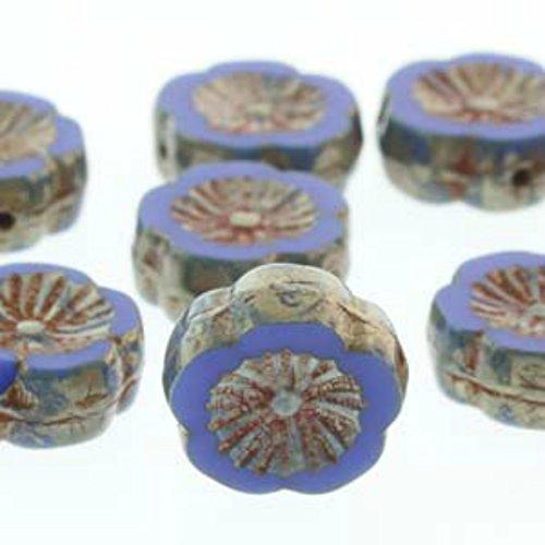 Czech Glass Beads Carved Hawaiian Flower Beads 12mm Royal