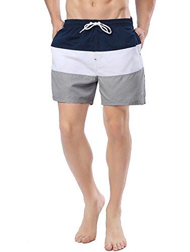 Men's Stripe Swim Trunks Quick Dry Casual Swim Short Grey M