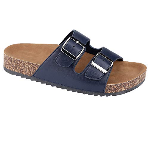 Women's Casual Buckle Double Strap Platform Footbed Flat Sandals