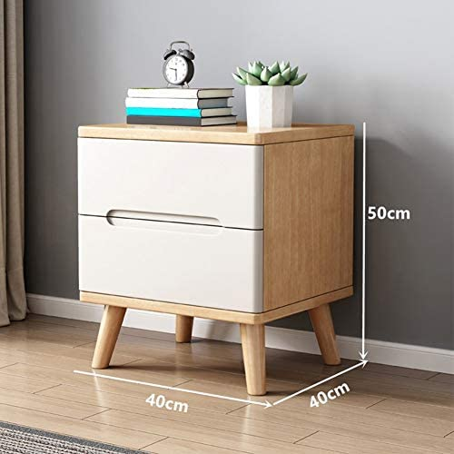 ZPEE Solid Wood Furniture Bedside Table,Simple Modern Chic Bedside Cabinet with Drawer Storage Bedside Drawer with Legs Fully Assembled Side Table Storage Drawer A 40x40x50cm