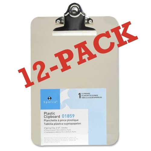 Value Pack of 12 Mini/Small Transparent Clipboard 6 x 9 inches by Sparco (Smoke)