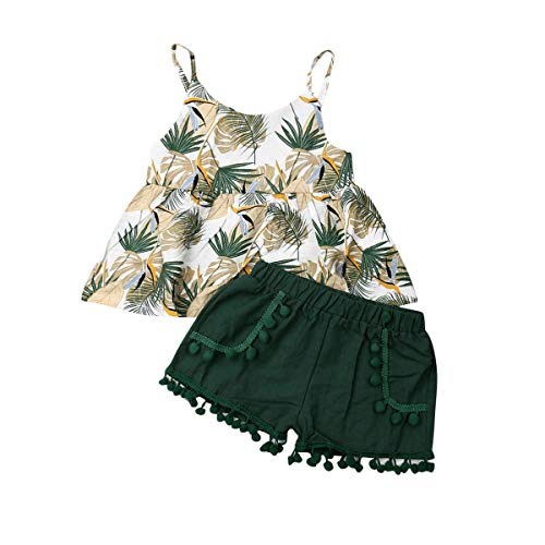 Toddler Girls Summer Shorts Set Halter Ruffle Top+Tassel Pineapple Pants Kids Summer Clothes Outfits (Palm Leaf Top+Short, 18-24 -