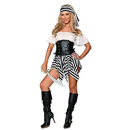 LVLUOYE Halloween Cosplay, European and American Caribbean Female Pirate Costume, Party Viking Costume Game -