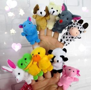 Set of 10 Zoo Farm Animal Finger Puppets Plush Cloth Toys Bed Story Telling Kids by Unknown