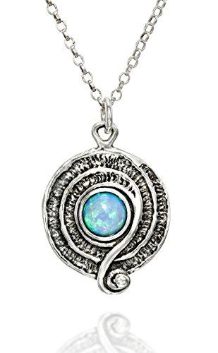 Silver Pendant Sterling Handmade Cabochon (Retro Design Created White Opal Round Swirl Pendant 925 Sterling Silver Necklace, 18