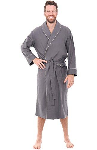 Alexander Del Rossa Mens Flannel Robe, Soft Cotton Bathrobe, XL Steel Grey (A0707STLXL) ()