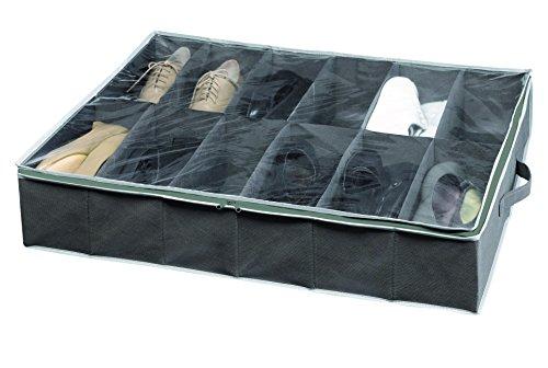 Compactor Novara Dora 12 Compartment Under bed Shoe Storage Bag, Dark Grey
