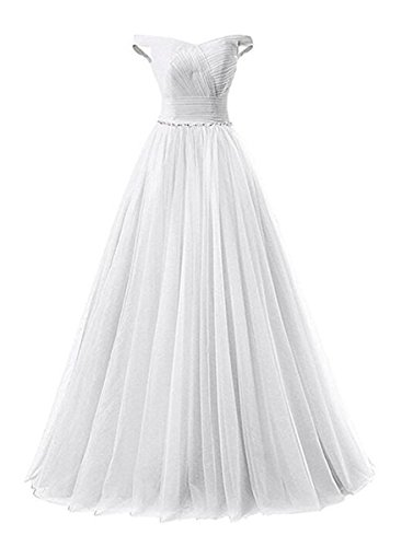 line Prom Tulle Evening Formal A with White Corset Shoulder Off Long Back Dress Belt Beaded 10wqTx5