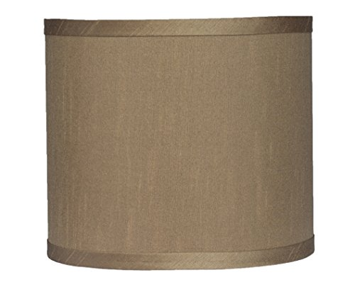 Urbanest Faux Silk Drum Lampshade, 8-inch by 8-inch by 7-inch, Taupe, Spider Fitter