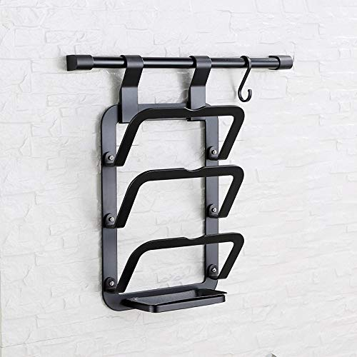 Colture Aerospace Aluminium Cutting Board Holder Wall Mounted - Kitchen Cabinet Pantry and Pot Lid/Cover/Bakeware Organizer Holder, Hanging Vertical Pan Lid Rack Kitchen with One Large Hook by Colture