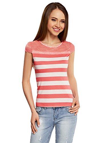 oodji Ultra Mujer Camiseta Entallada con Inserción de Encaje Marfil (3043S)
