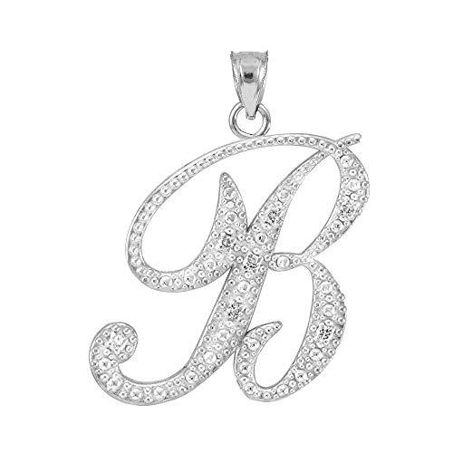 Fine 14k White Gold Diamond Script Letter B Initial Pendant
