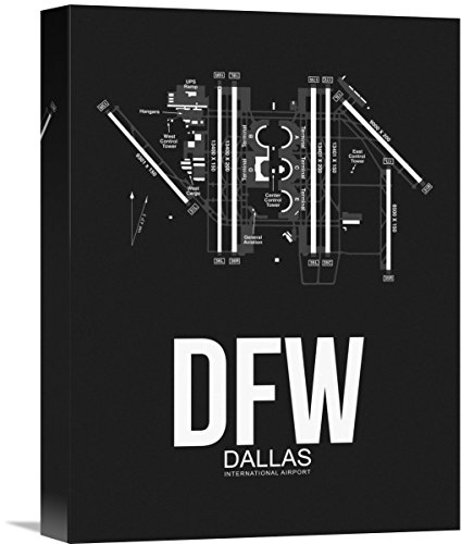 """Naxart Studio DFW Dallas Airport Black Giclee on Canvas, 12"""" by 1.5"""" by 16"""" from Naxart Studio"""