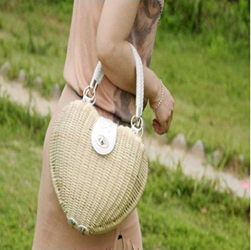 A Cuore s Donna Paglia Rattan Casual Ggcl Da beige In Spiaggia Tessuto rosso Di Sacchetto Forma Borsa atHwIqvw