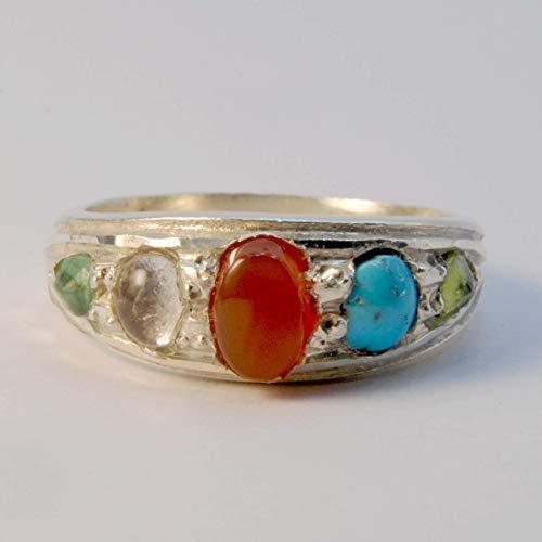 (Multi Stone Handmade Persian Ring | AlAliGems | Emerald Peridot Agate Quartz Turquoise | Silver 925 | US SIZE 10.75)