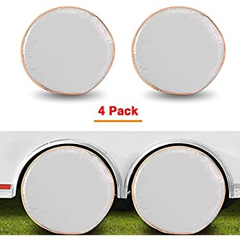 Fits 30-32 Inch Diameters Spare Wheel Tire Covers Aluminum Trailer Tire Protectors GES Tire Covers for Trailers Set of 4 Waterproof Tire Covers for RV