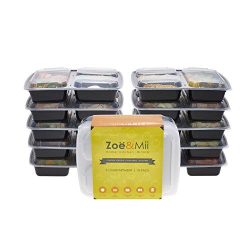 [10er Pack] 3-Fach Mahlzeitvorbereitung Lebensmittelbehälter Lagerung Mikrowellenfest Geschirrspülerfest Einfrierbar Bento Lunch Box Multifunktionsbox Vorratsdose mit Fachern Tupperware Sets BPA-Frei von Zoe & Mii