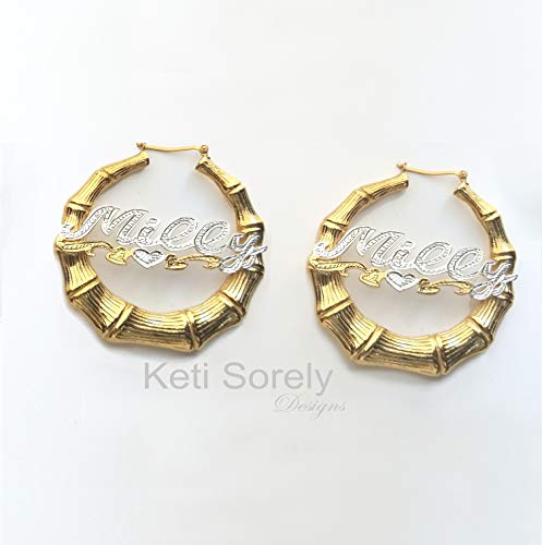 - Large Bamboo Nameplate Earrings with Diamond Beading