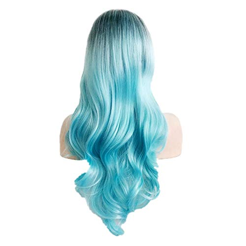 Clearance Fashion Women Long Curly Straight Wavy Synthetic Full Hair Wig Pink Purple Cosplay AfterSo (blue 1)
