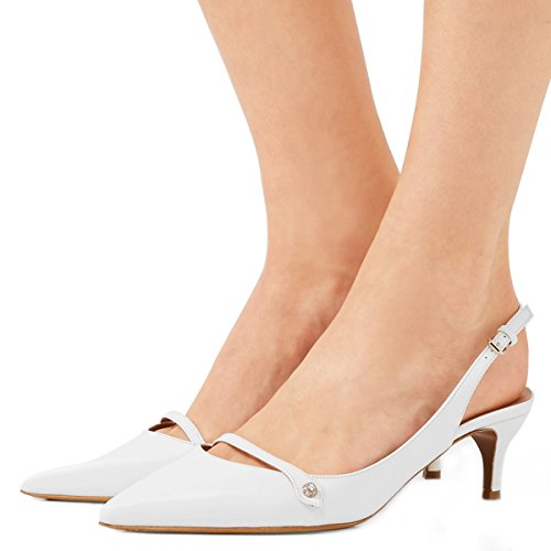 (XYD Women Pointed Toe Mid Kitten Heel Slingback Sandal Pumps Slip On Patent Satin Dress Shoes Size 8 Ivory-PU)
