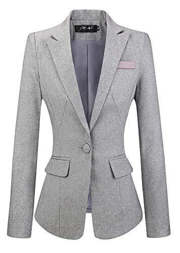 SHUIANGRAN Womens Boyfriend Office Blazer Work Suits Lightweight Jacket Business Blazer Gray US 4 (tag Asian XL)