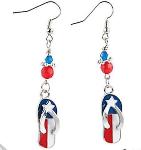 American Patriotic Flip Flop Dangle Earrings 2.5
