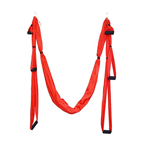 Parachute Fabric Swing Inversion Therapy Anti gravity Aerial Yoga Dip Stands Color Red New