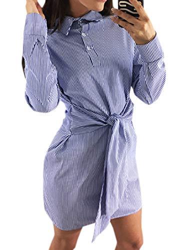 Tubino Blu Righe Spiaggia Con Sottile Vestito Autunno Abito Partito Camicie A Casual Primavera Moda E Mini Da Vestiti Manica Festa Bende Lunga Abiti Cocktail Risvolto Donne dhxtQrCs