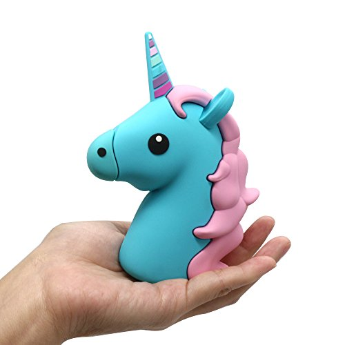 DBigness 2600mAh Blue Unicorn Cute Funny Cartoon PVC External Battery Portable Charger Backup Pack Power Bank for iPhone 7 7 Plus 6 6S Plus 5S 5C 4S and Android Phone