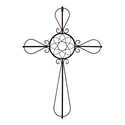 Dicksons Open Petal Cross with Floral Center Onyx 20 x 33 Metal Wall Sign Plaque