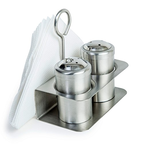Stand with Napkin Holder | Salt Pepper Combo Dispenser with Tissue Stand | Stainless Steel Condiment Shaker set ()
