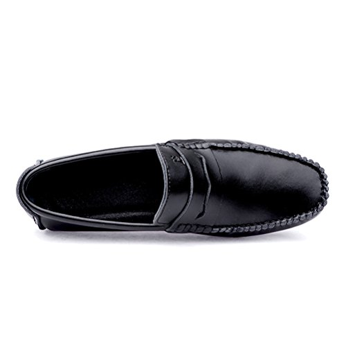 Black Shoes Flats Leather Casual Slip Moccasins On Penny Genuine Boat Men's Driving Loafers SUNROLAN 7gxqOp1