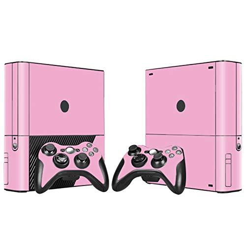 Skin Sticker Decal Cover for Xbox 360 E Console and 2 Remote Controllers Pink Color Design (Xbox 360 Pink Controller Skin)