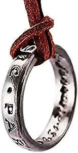 Legisdream Anillo Colgante Collar de Cuero marrón escrita Sic Parvis Magna joyería de Plata Gift Ideas Festival Unisex