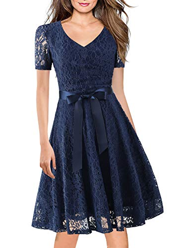 Women's Bridesmaid Floral Evening Business Dresses Cocktail Party Vintage Full Lace Casual Swing A Line Dress Knee-Length 158 (M, Navy Blue) ()