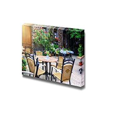 Cafe Terrace in Small European City at Summer Day for Cafe Art - Canvas Art Wall Art - 12