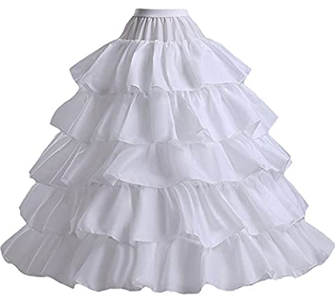 Fanhao 4 Hoops 5 layers Full Ruffles Bridal Petticoat Hoop Skirt for Wedding Cosplay Ball Gown Dress
