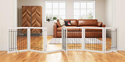 (PAWLAND 144-inch Extra Wide 30-inches Tall Dog gate with Door Walk Through, Freestanding Wire Pet Gate for The House, Doorway, Stairs, Pet Puppy Safety Fence, Support Feet Included, White,6 Panels)