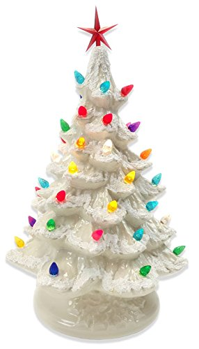 Starry Night 15'' Lighted Ceramic Christmas Tree (15'', White with Snow)